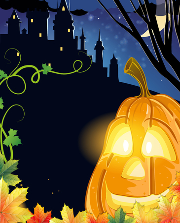 monsters house: Jack O Lantern with glowing eyes near the old haunted castle. Halloween night scene Illustration