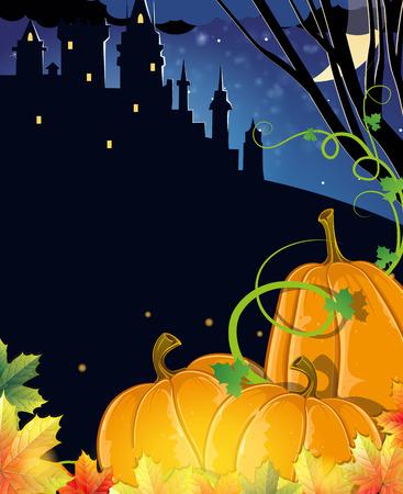 autumn scene: Pumpkins with autumn leaves near the old haunted castle. Halloween night scene