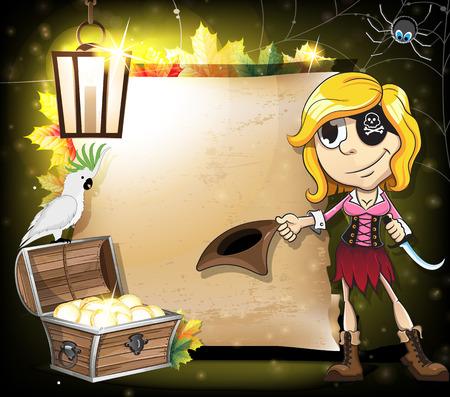 mujer pirata: Halloween del pirata ni�a, loro y cofre del tesoro en el fondo del antiguo pergamino de papel. Resumen de antecedentes de halloween Vectores