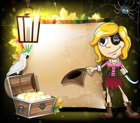 pirate girl: Halloween Pirate girl, parrot and treasure chest on the background of old paper scroll. Abstract halloween background