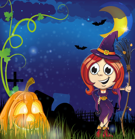 jack o: Witch girl with broom  and jack o lantern in the cemetery. Halloween night scene Illustration