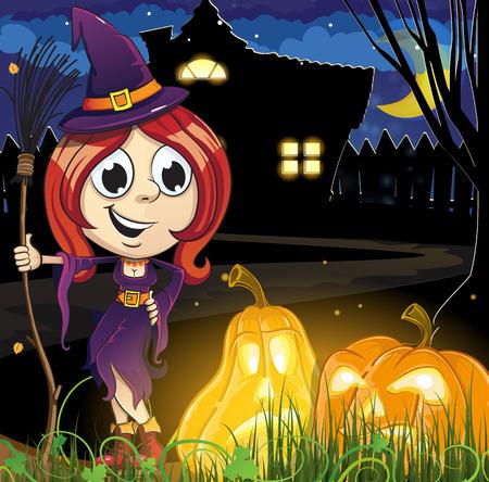 jack o  lanterns: Witch girl and Jack o lanterns near the house with glowing windows. Halloween night scene Illustration
