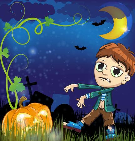 jack o: Zombie and jack o lantern  in the night cemetery. Halloween night scene Illustration