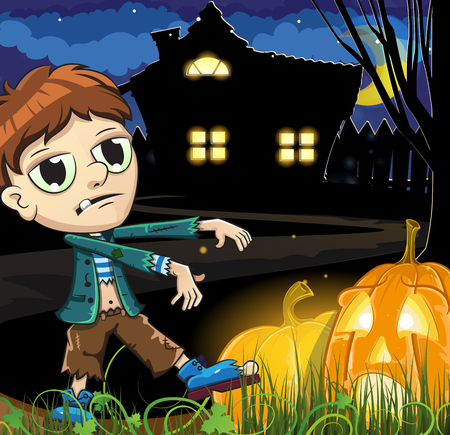 monsters house: Zombie boy and Jack � lanterns near the haunted house. Abstract Halloween background