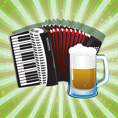 stout: Glass of foamy beer and accordion with red bellows on radiant green background