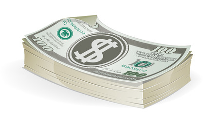dollar bills: A stack of of hundred dollar bills on a white background