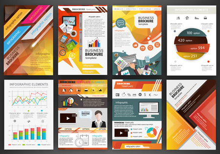 Fondos abstractos del vector y folletos para la web y las aplicaciones móviles. Negocios y tecnología infografía, iconos, diseño de la plantilla creativa para su presentación, cartel, portada, folleto, banner.