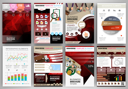 Abstract vector backgrounds and brochures for web and mobile applications. Business and technology infographic, icons, creative template design for presentation, poster, cover, booklet, banner. Фото со стока - 45628664