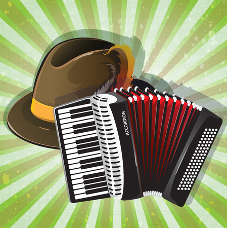 bellows: German Alpine hat and accordion with red bellows on radiant green background