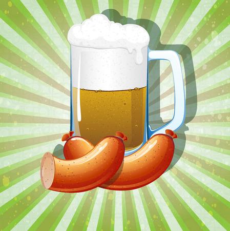 oktoberfest background: Beer mug and sausages on radiant green background. Abstract Oktoberfest background