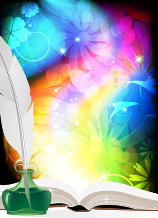 allegory: Magic book, quill and inkwell on an abstract rainbow background