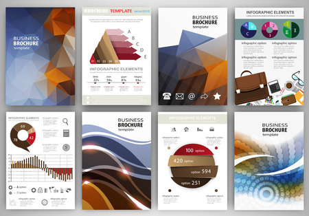 technology banner: Abstract vector backgrounds and brochures for web and mobile applications. Business and technology infographic, icons, creative template design for presentation, poster, cover, booklet, banner.