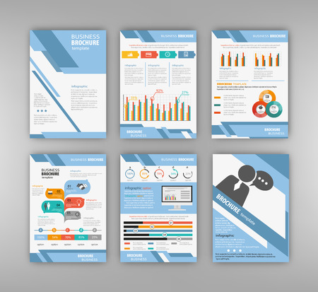 powerpoint: Business and technology presentation template set. Cover layout and infographics. Abstract vector backgrounds and brochures for web and mobile applications. Illustration