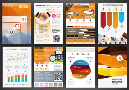 promotion: Abstract vector backgrounds and brochures for web and mobile applications. Business and technology infographic, icons, creative template design for presentation, poster, cover, booklet, banner.