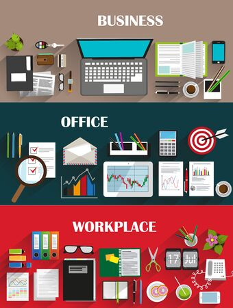 office: Business strategy, marketing, statistic, management, office work. Creative illustration set of flat design. Concept for web design and flyers
