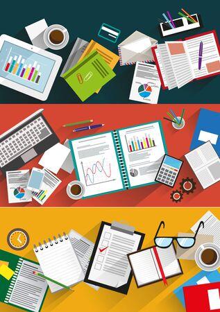 business administration: Estrategia de negocios, marketing, estad�stica, gesti�n, trabajo de oficina. Conjunto Ejemplo creativo de dise�o plano. Concepto de dise�o web y folletos