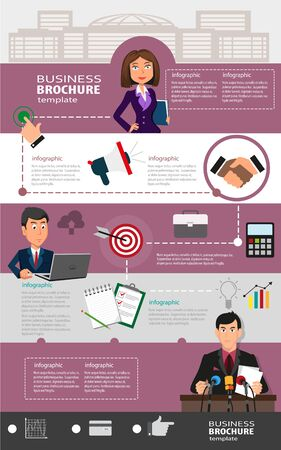 business leadership: Business infographic template background with office workers, abstract icons and place for text. Creative illustration of flat design. Concept for web design and flyers Illustration