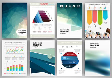 presentation card: Abstract vector backgrounds and brochures for web and mobile applications. Business and technology infographic, icons, creative template design for presentation, poster, cover, booklet, banner.
