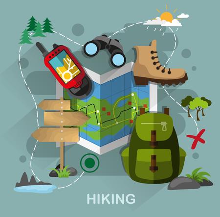 mochila de viaje: Ilustración Diseño plano del equipo de camping y senderismo. Mapa, navegador, mochila, binoculares, botas sobre fondo abstracto. Ilustración Turismo y el concepto de viaje para el diseño web, diseño, bandera, diagrama, infografías.