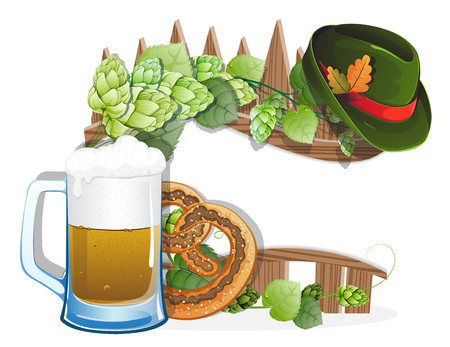 german food: Beer glass, pretzel and  German hat with oak leaves on a wooden fence. Abstract Oktoberfest background