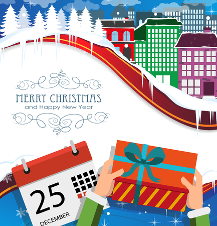 mail delivery: Winter city, Christmas gift and calendar. Merry Christmas and New Year background
