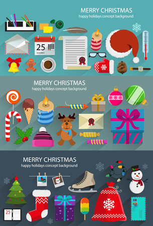 Christmas and new year objects, symbols, toys and gifts. Creative illustration set of flat design. Concept backgrounds for web design and flyers