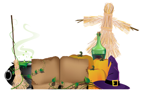 bewitchment: Cauldron with a magic potion, witch hat, scarecrow, ripe pumpkins and  old book on a white background. Halloween witchcraft supplies