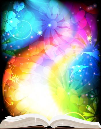 虹の花の背景におとぎ話の開いた本