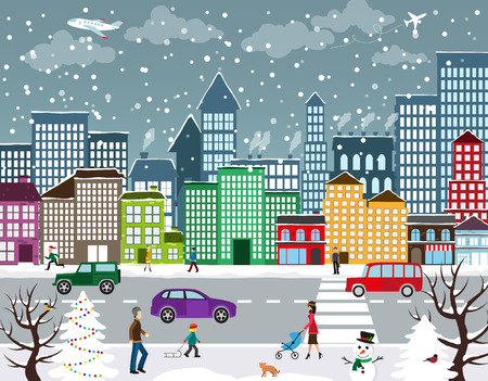 scene: Winter Christmas urban landscape. View of city street with industrial buildings and shopping centers. Roadway with car traffic and pedestrians on the sidewalk in the foreground