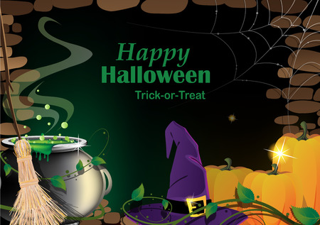 Magical accessories in a dark basement with cobweb. Abstract Halloween background Illustration