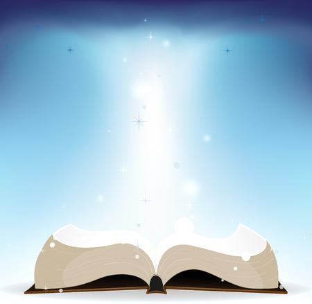 bible ouverte: Livre ouvert sur un fond bleu Illustration