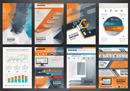 brochure background: Abstract vector backgrounds and brochures for web and mobile applications. Business and technology infographic, icons, creative template design for presentation, poster, cover, booklet, banner.
