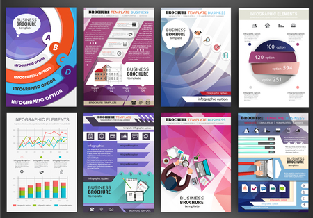 presentation: Abstract vector backgrounds and brochures for web and mobile applications. Business and technology infographic, icons, creative template design for presentation, poster, cover, booklet, banner.