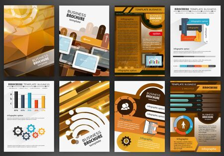 poster designs: Abstract vector backgrounds and brochures for web and mobile applications. Business and technology infographic, icons, creative template design for presentation, poster, cover, booklet, banner.