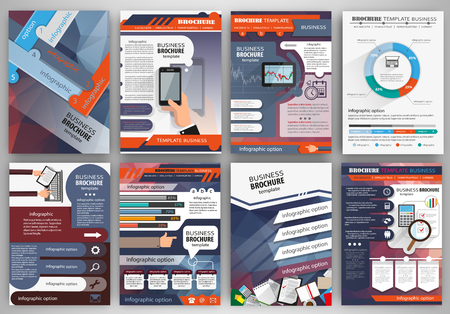 Abstract vector backgrounds and brochures for web and mobile applications. Business and technology infographic, icons, creative template design for presentation, poster, cover, booklet, banner. Фото со стока - 48450449
