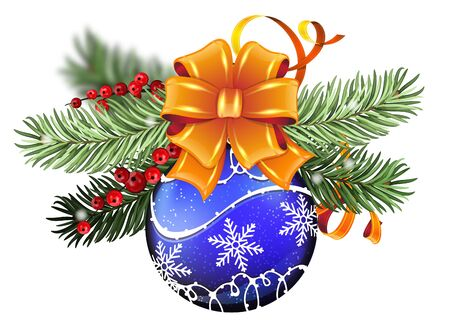 blue berry: Blue Christmas ball with orange bow, winter berry and fir tree branches on white background