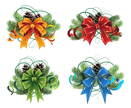 nativity set: Set of Christmas decorations with pine branches, cones and bows on white background Illustration
