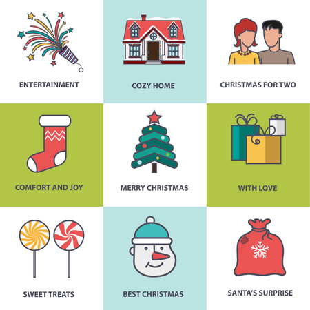 santa sack: Snowman, Santa sack, sock, Christmas tree, house and other Christmas symbols. Set of Christmas icons in flat style for web design, greeting card or invitation.