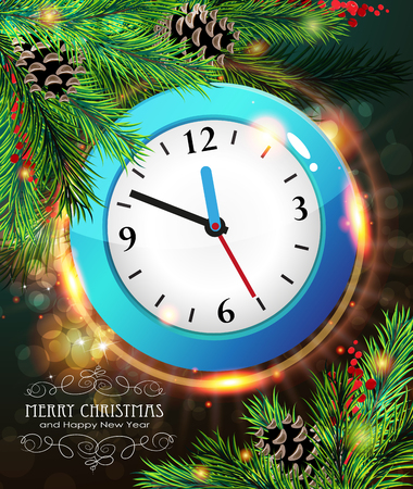 watch new year: New year clock among pine branches with pine cones and winter berries on a sparkling  holiday background