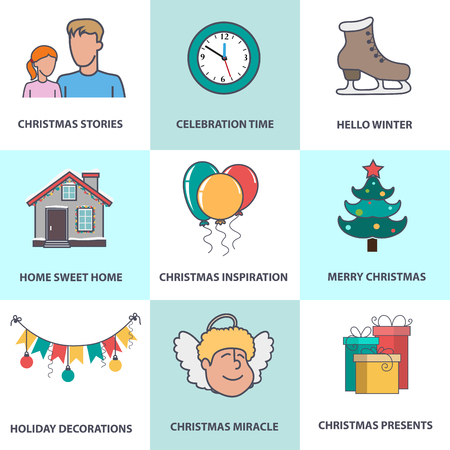 watch new year: Angel, house, balloons, Christmas decorations, gifts and other Christmas symbols. Set of Christmas icons in flat style for web design, greeting card or invitation.