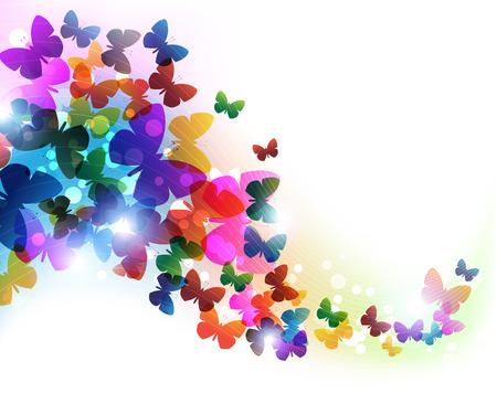 mariposa: mariposas volando coloridos. Resumen de antecedentes con el lugar de texto Vectores