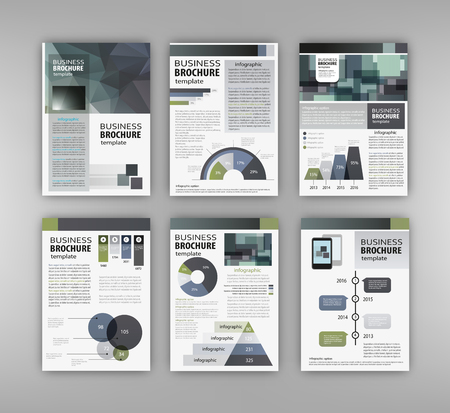 page layout: Abstract vector backgrounds and Infographic brochure elements for business and finance visualization. Set of infographic templates for flyer, presentation, booklet, print, website