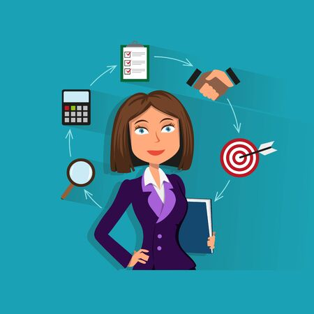 education concept: Pretty businesswoman holding a folder with documents. Conceptual business icons arranged in a circle. Creative flat design business concept illustration