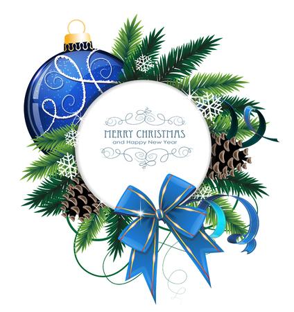 白い背景の上の弓、リボンやモミの木の枝をクリスマスの装飾。テキストのためのラウンドの場所のクリスマス カード 写真素材 - 49559210