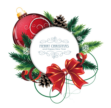 christmas tree ornaments: Christmas ornaments with bow, ribbon and fir tree branches on white background.  Christmas card with round place for text Illustration