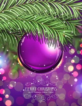 christmas tree ball: Purple Christmas ball and fir tree branches on a sparkling  holiday background. Festive Christmas background Illustration