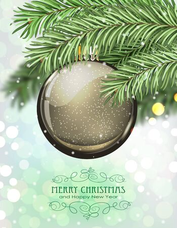 christmas tree ball: Brown Christmas ball and fir tree branches on a sparkling  holiday background. Festive Christmas background