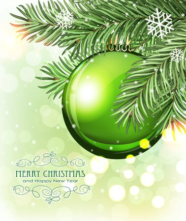 pine decoration: Green Christmas ball and fir tree branches on a sparkling  holiday background. Festive Christmas background