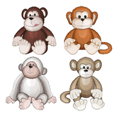Four plush monkeys on a white background