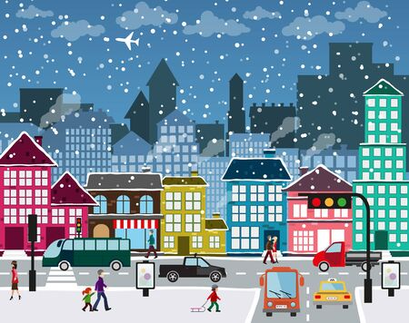 Winter Christmas urban landscape. View of city street with industrial buildings and shopping centers. Roadway with car traffic and pedestrians on the sidewalk in the foreground Stock Vector - 49521272